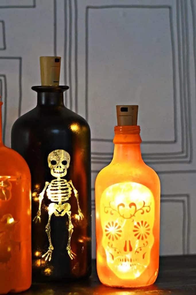 DIY Halloween Decor Idea made with bottles and lights