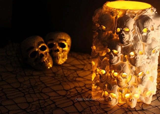 DIY Halloween Decor Idea with handmade skull candle holder