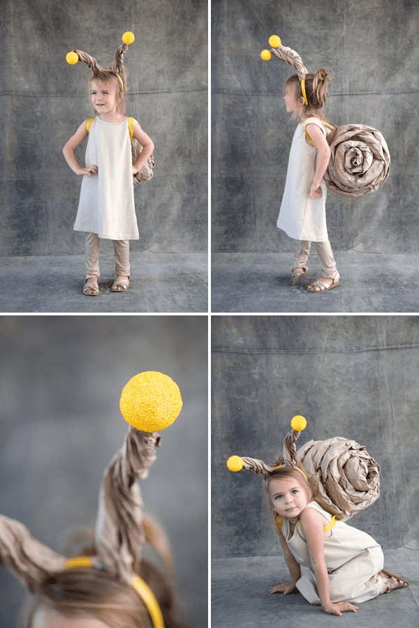 snail costume made with brown paper